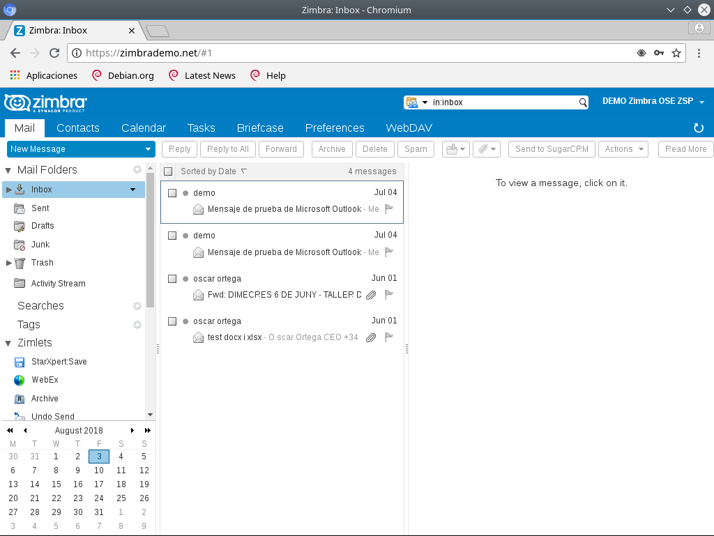 How to enable Zimbra 8 to be the default e-mail manager in Chrome