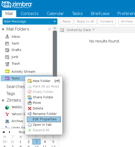 How to configure the retention of e-mail folders in Zimbra
