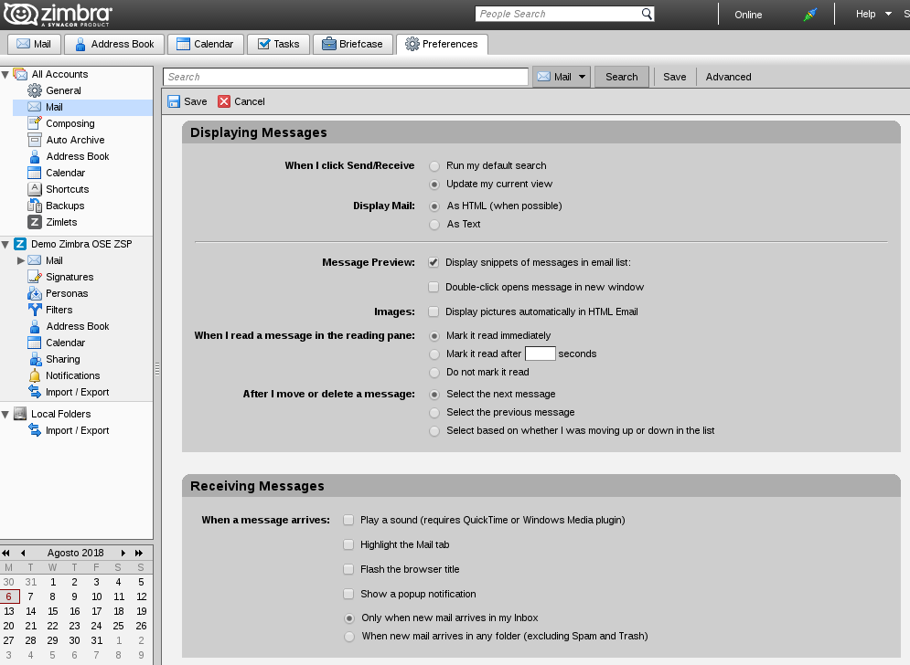 How to make a basic configuration in Zimbra Desktop? – bTactic Open