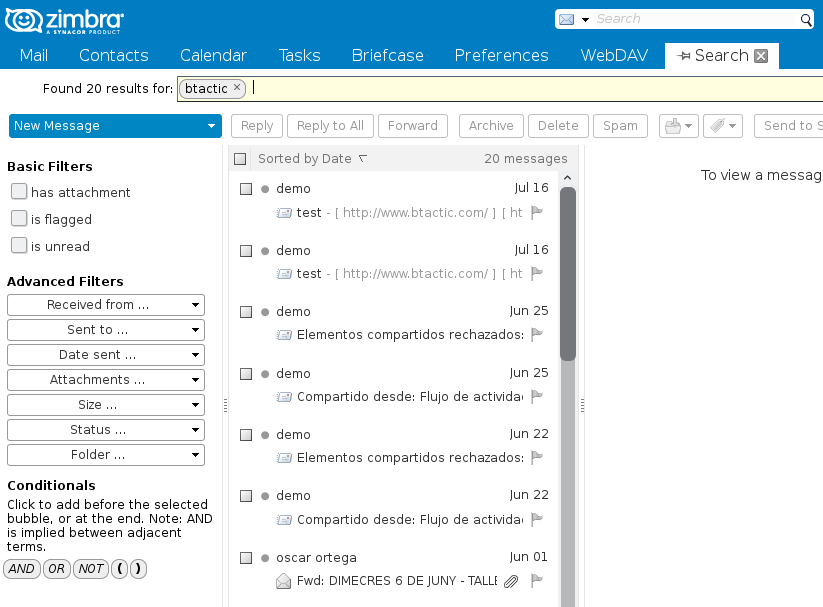 How to use the Search function in Zimbra? – bTactic Open