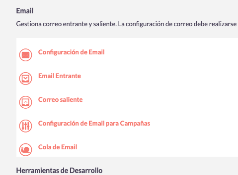 Menu email suiteCRM